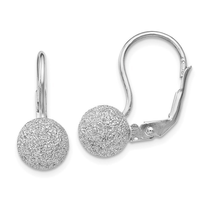 Leslie's Italian Gold Leslie's SS Radiant Essence Rhodium-plated Leverback Earrings