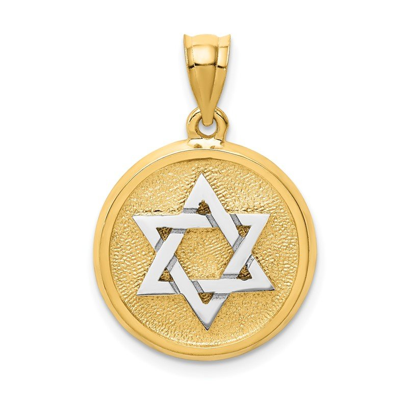 Quality Gold 14k Two-tone Solid Satin Finish Flat Back Star of David Disc Charm