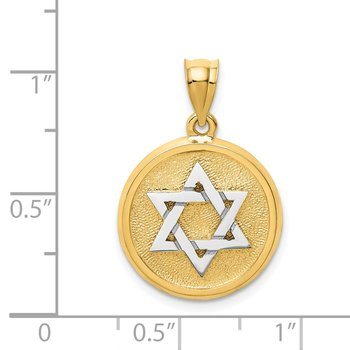 14k Two-tone Solid Satin Finish Flat Back Star of David Disc Charm