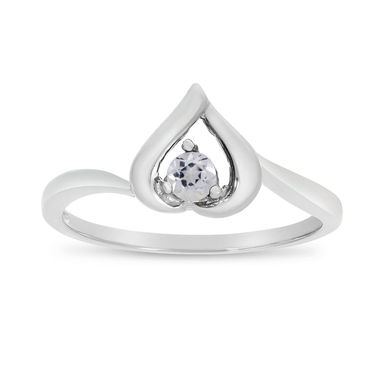 14k White Gold Round White Topaz Heart Ring