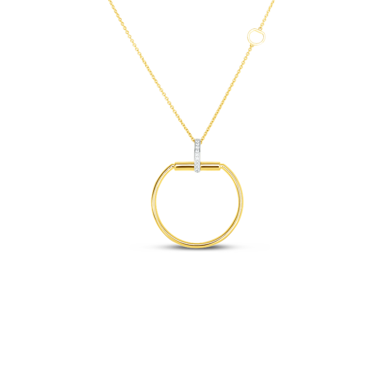 Roberto Coin  #28032 Of 18K Large Stirrup Pendant W. Dia Accent On Long Chain