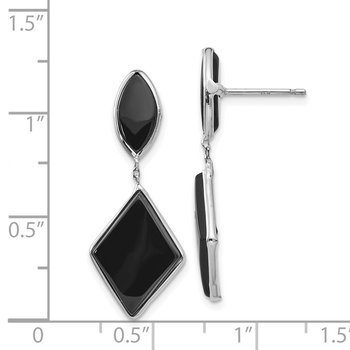 14k White Gold Onyx Dangle Post Earrings