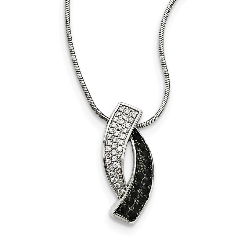 Arizona Diamond Center Collection Sterling Silver Black Spinel & CZ Brilliant Embers Necklace