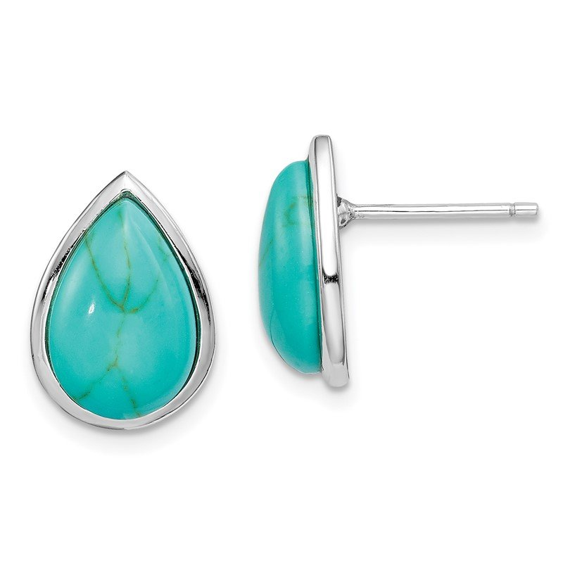 Quality Gold Sterling Silver Rhodium-plated Created Turquoise Teardrop Post Earrings