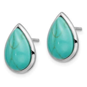 Sterling Silver Rhodium-plated Created Turquoise Teardrop Post Earrings
