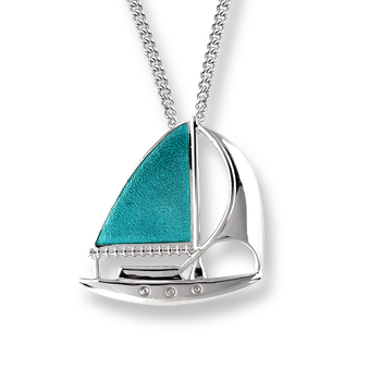 Sterling Silver Sailboat Necklace -Turquoise.
