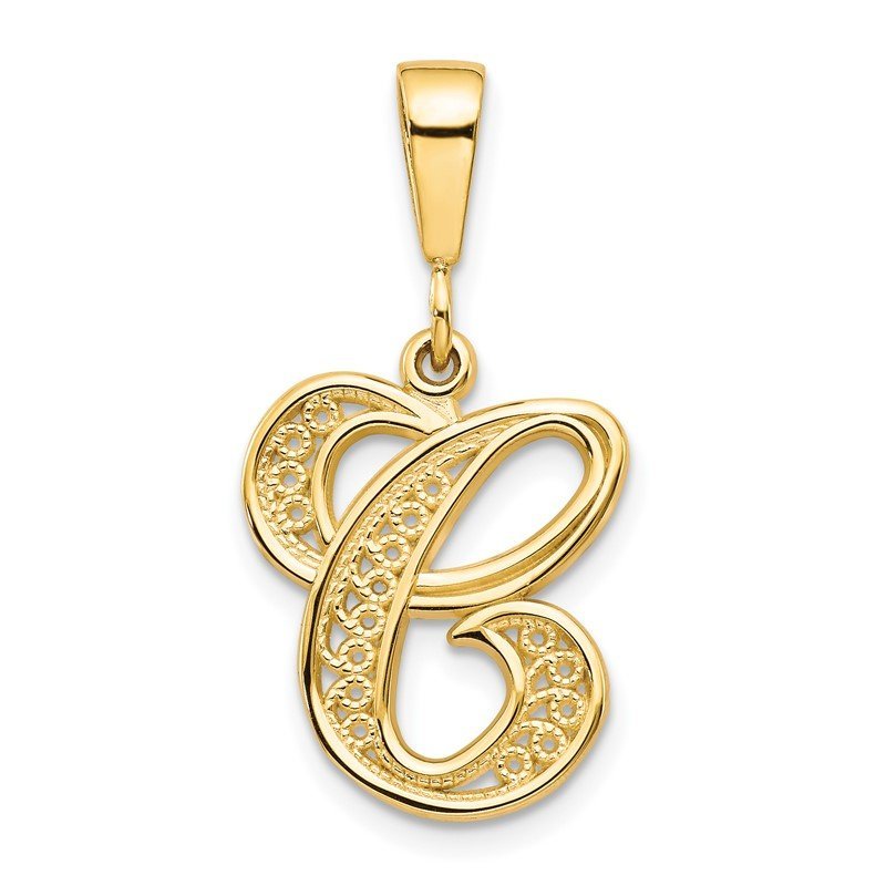 J.F. Kruse Signature Collection 14KY Polished Script Filigree Letter C Initial Pendant