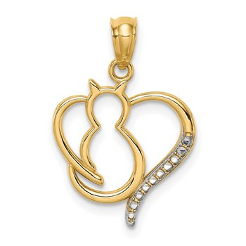 14K White Rhodium Sitting Cat in a Heart Pendant