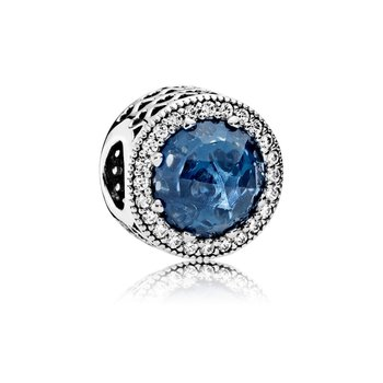 Radiant Hearts Charm, Moonlight Blue Crystal Clear Cz