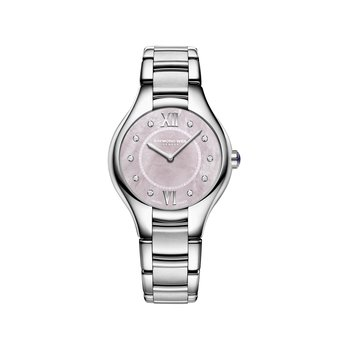 Ladies Quartz Watch, 32 mm Steel on steel, pink dial, 10 diamonds