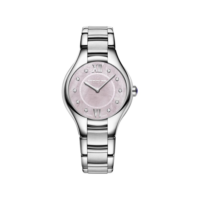 Raymond Weil Ladies Quartz Watch, 32 mm Steel on steel, pink dial, 10 diamonds