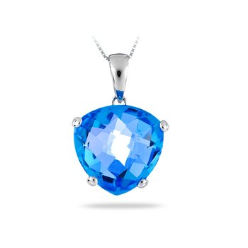 14K WG Heart Shape Chequered Topaz Blue Pendant