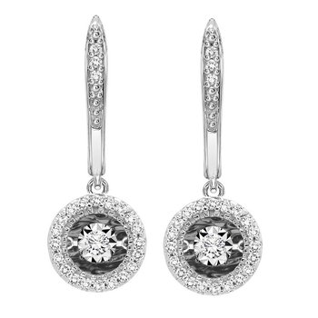 14K Diamond Rhythm Of Love Earrings 1/5 ctw