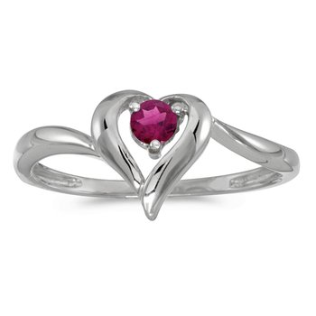 10k White Gold Round Rhodolite Garnet Heart Ring