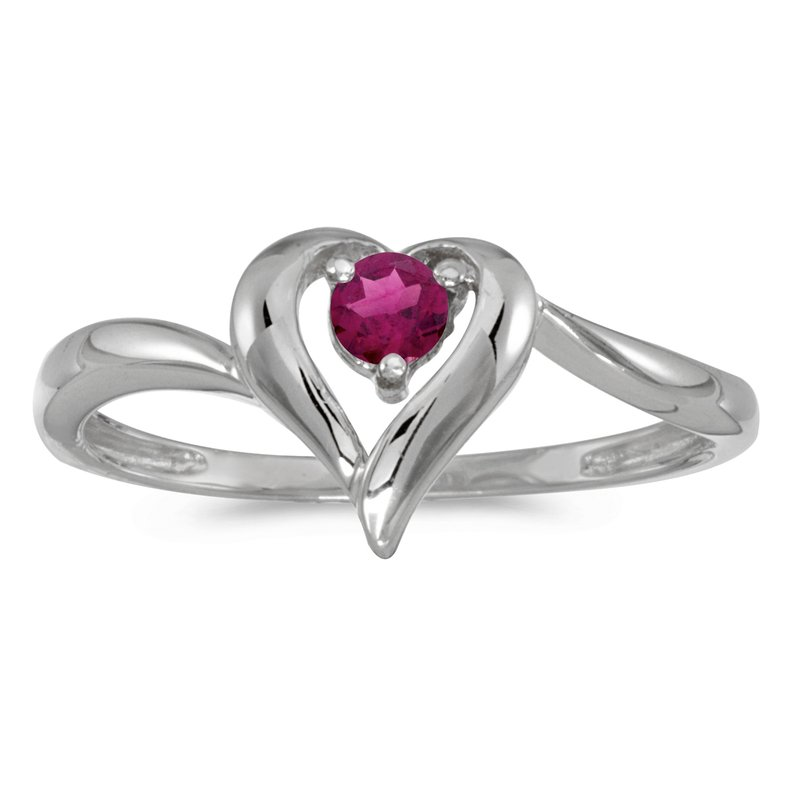 Color Merchants 10k White Gold Round Rhodolite Garnet Heart Ring