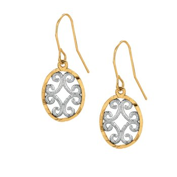 10K Gold Oval Dangle Earring