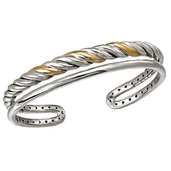 Ladies Fashion Two-Tone Bangle