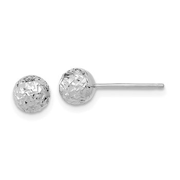 14k White Gold D/C 6mm Ball Post Earrings