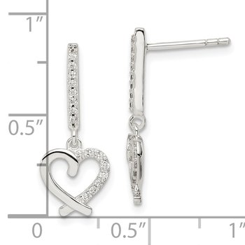 Sterling Silver CZ Dangle Heart Post Earrings