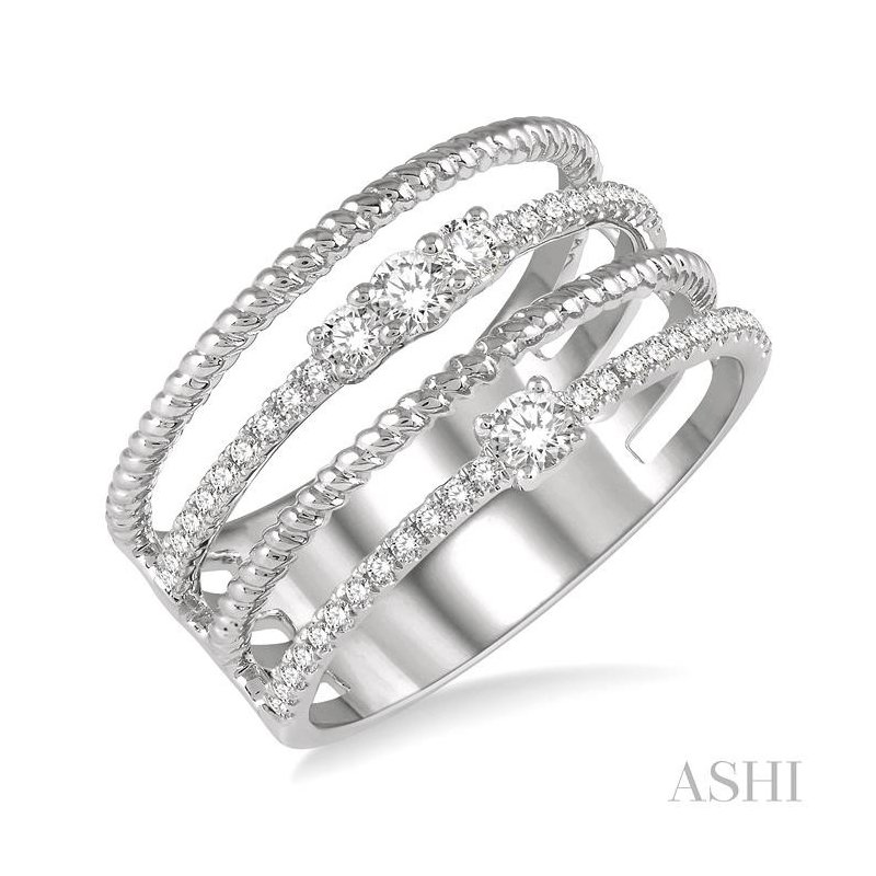 ASHI diamond fashion open ring