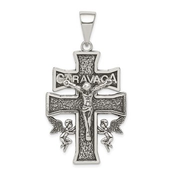 Sterling Silver Antiqued Large Caravaca INRI Crucifix Cross Pendant