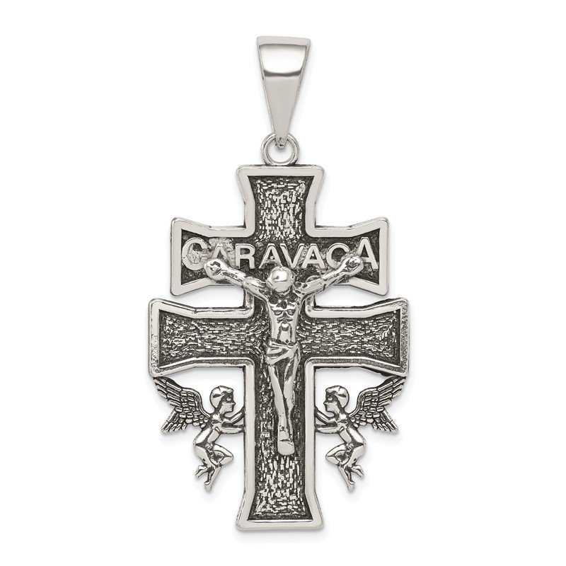 Quality Gold Sterling Silver Antiqued Large Caravaca INRI Crucifix Cross Pendant