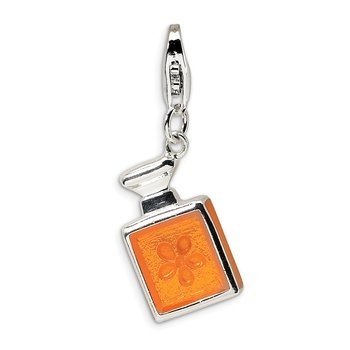 Sterling Silver 3-D Orange Enamel Perfume Bottle w/Lobster Clasp Charm