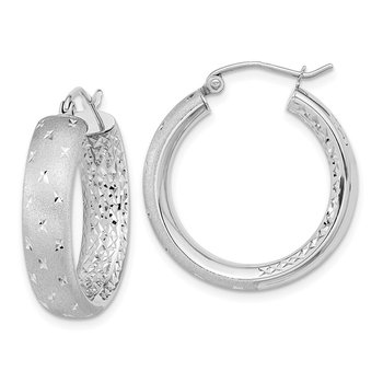 14k White Gold Polished Satin and Diamond-cut In/Out Hoop Earrings