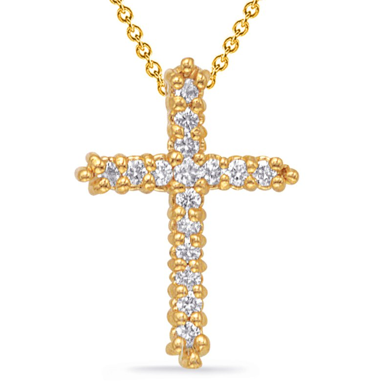 S. Kashi  & Sons Yellow Gold Diamond Cross Pendant