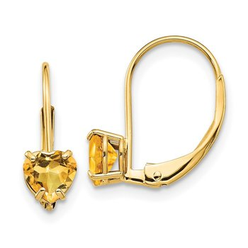 14k 5mm Heart Citrine Leverback Earrings