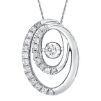 SDC Creations Dancing Diamond Double Oval Pendant in 14K White Gold with Chain