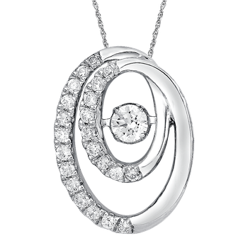 Dancing Diamond Double Oval Pendant in 14K White Gold with Chain