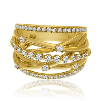 14k Yellow Gold Fancy Puzzle Diamond Ring
