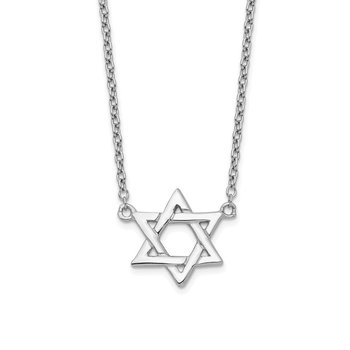 Sterling Silver Rhodium-plated Star of David w/1in ext Necklace