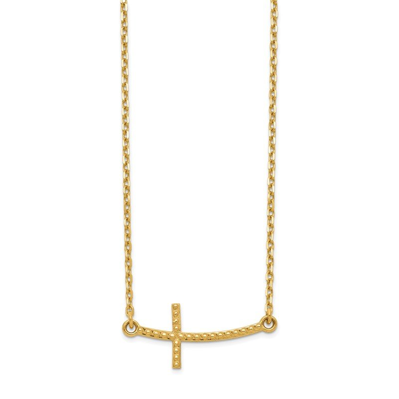 Quality Gold 14k Sideways Curved Textured Cross Necklace