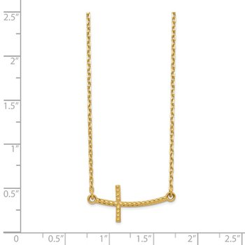 14k Sideways Curved Textured Cross Necklace