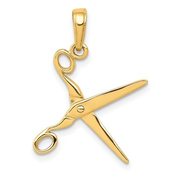 14k 3-D Moveable Scissors Pendant