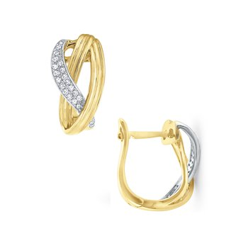 Diamond & Gold Twisted Mini Hoop Earrings Set in 14 Kt. Gold
