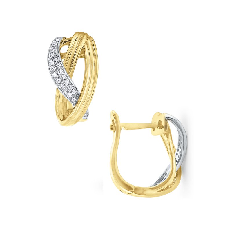 MAZZARESE Fashion Diamond & Gold Twisted Mini Hoop Earrings Set in 14 Kt. Gold