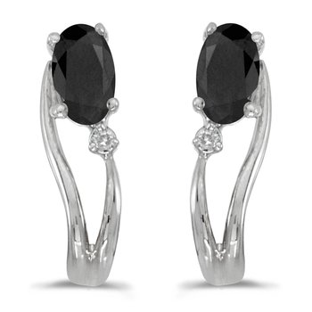 14k White Gold Oval Onyx And Diamond Wave Earrings