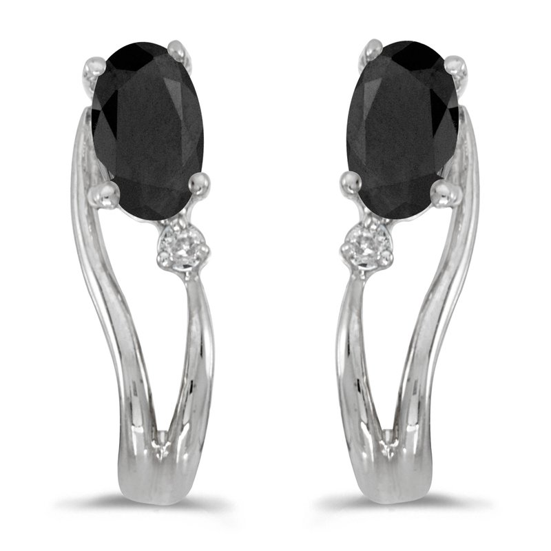 Color Merchants 14k White Gold Oval Onyx And Diamond Wave Earrings
