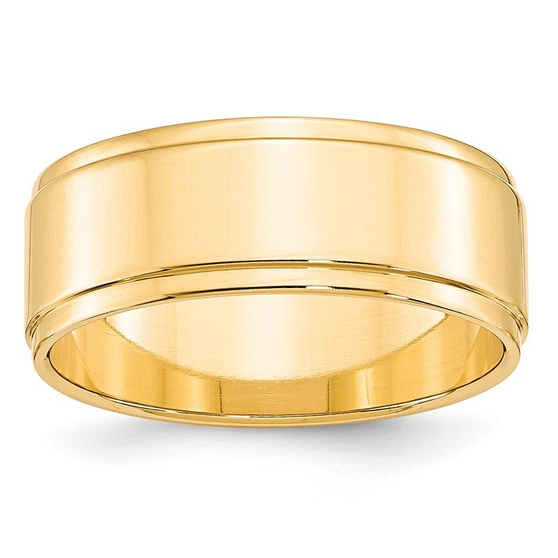 Quality Gold 14KY 8mm Flat with Step Edge Band Size 10