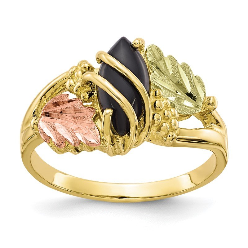 Quality Gold 10k Tri-color Black Hills Gold Onyx Ring