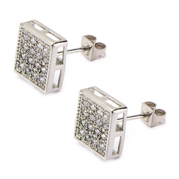 Clear CZ in Square Hip Hop Stud Earrings