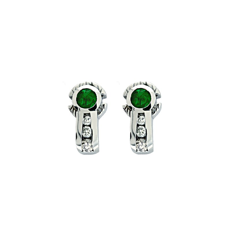 S. Kashi  & Sons Emerald./ Diamond Wg Earring