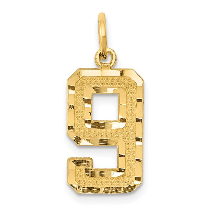 Quality Gold 14ky Casted Medium Diamond Cut Number 9 Charm