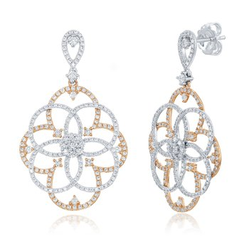 Rose & White Gold Diamond Earring