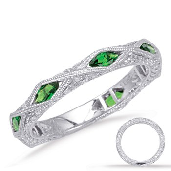 Tsavorite & Diamond Band