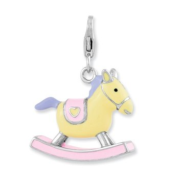 Sterling Silver Enameled 3-D Rocking Horse w/Lobster Clasp Charm
