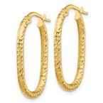 Quality Gold 14K 2x2mm Diamond-cut Oval Hoop Earrings